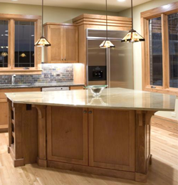 Kitchen With Wooden Cabinets. Custom Woodworking